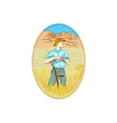 Wheat organic farmer scythe oval drawing vector