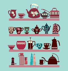Set of tea collection with a tea pot tea cup vector