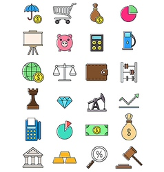 Colorful economy icons set vector