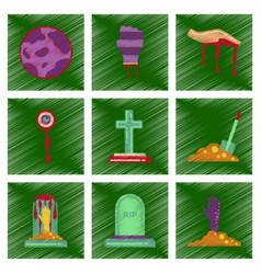 Assembly flat shading style icons halloween full vector