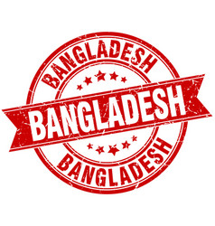 Bangladesh red round grunge vintage ribbon stamp vector