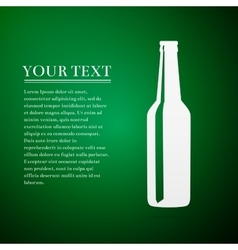 Beer bottle flat icon on green background vector image