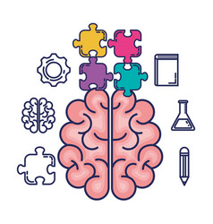 brain storming set icons vector image