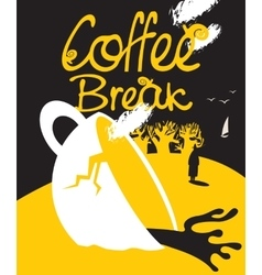 broken cup of coffee vector image