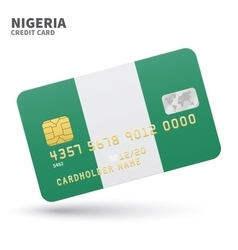 Credit card with nigeria flag background for bank vector