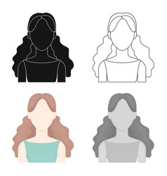 Curly girl icon cartoon single avatarpeaople vector