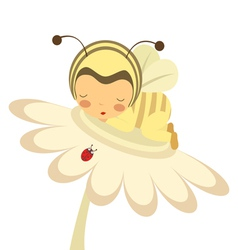 Cute baby bee slepping on flower vector image vector image