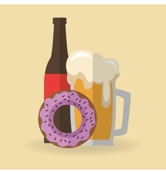 Donut and beer design vector