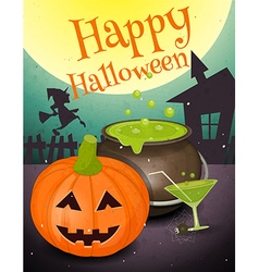 halloween retro card vector image vector image