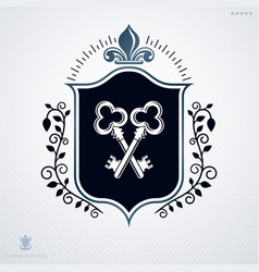 Heraldic coat of arms made with graphic elements vector