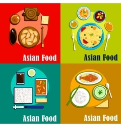 Indian chinese thai and korean cuisine vector