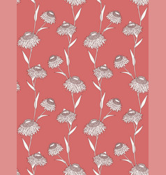 Linear flower seamless pattern on red background vector