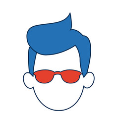 Man faceless wearing glasses blue hair in white vector