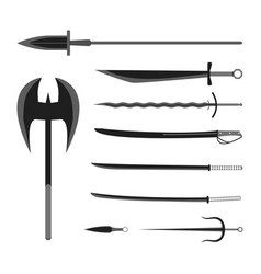 medieval weapons set flat style equipment vector image
