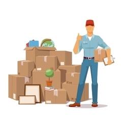 Move service man Ok hand box vector image vector image