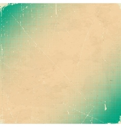 Old white scratched card with green halftone vector image vector image