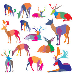 Set of colorful mosaic deer silhouettes vector