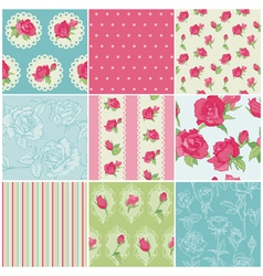 Set of Seamless Floral Rose backgrounds vector image