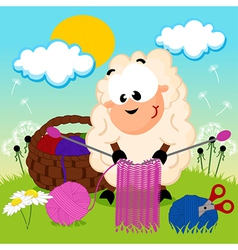 Sheep knits yarn vector