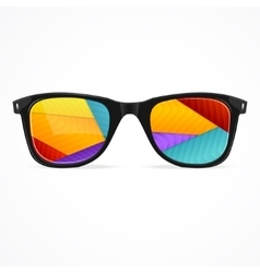 sunglasses rainbow abstract background vector image