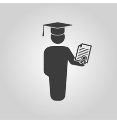 The graduate with diploma icon School and vector image
