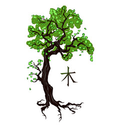 tree tattoo on white vector image vector image