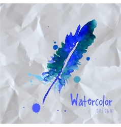 Watercolor design element feather vector image vector image