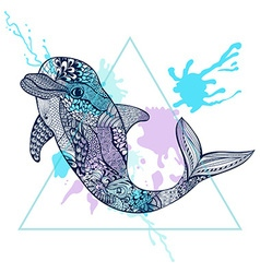 Zentangle stylized blue dolphin in triangle frame vector