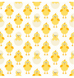 Pattern with cute little chickens vector