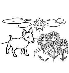 dog cartoon coloring book vector image
