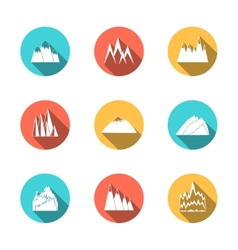 Snowy mountains icons set vector