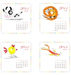 calendar for 2011 with animals vector image