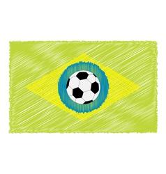 Football soccer ball brazil flag Scribble effect vector image