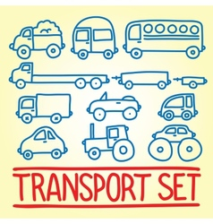 Hand drawn cartoon transport set vector