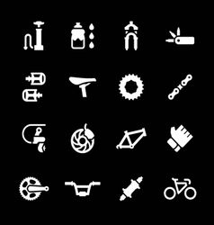 Set icons of bicycle parts and accessories vector image