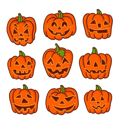 Ack-o-lanterns on white background to halloween vector