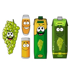 Funny natural green grape fruit and juice cartoon vector