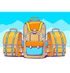 Fashion backpacks on blue winter backgrou vector