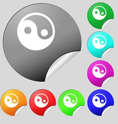 Ying yang icon sign set of eight multi-colored vector