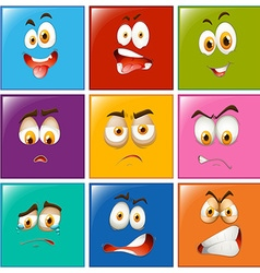 Facial expressions on square badges vector