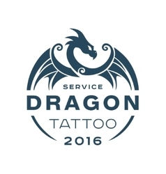 Dragon logo tattoo service in style the flat of vector