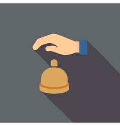 Reception call bell flat long shadow square icon vector