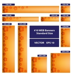 Sakura over orange web banners set vector