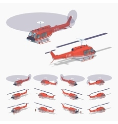 Low poly fire helicopter vector
