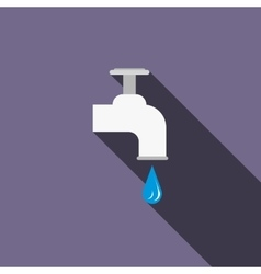 Dripping tap with drop icon flat style vector