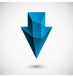 3d cyan down arrow with light background vector image