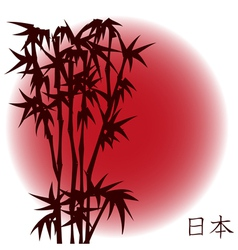 Bamboo on red sun vector