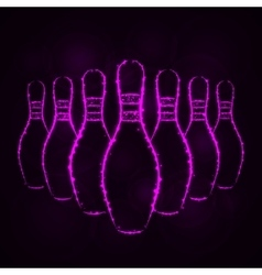 Bowling pins silhouette of lights vector image vector image