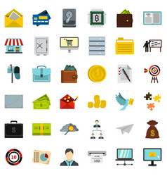 Business contract icons set flat style vector