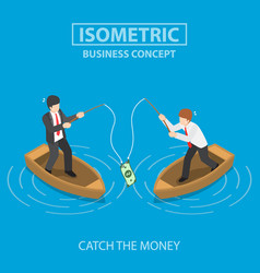 business trying to catch dollar bill by fishing vector image vector image